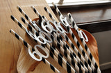 Silver and Black Straws for 60th Party.  Handcrafted in 2-5 Days. 60th Birthday Party Decorations.  60th Straws 10CT.