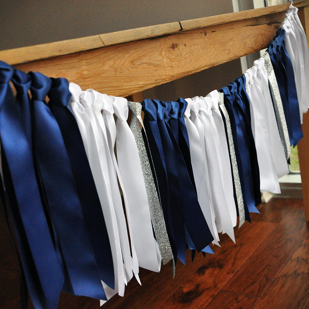Silver and Navy Garland. Made in 1-3 Business Days. Navy, White, and Silver Graduation Ribbon Garland. Navy and Silver Party Decor.