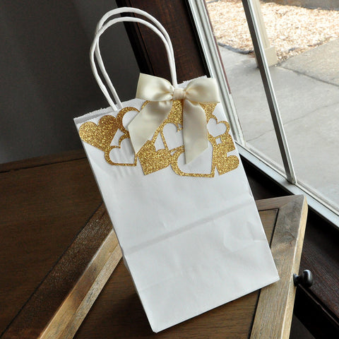 Gift Bags for Bridesmaids. Small White Paper Bags with Handles. Party Favor Bags.  Set of 5. W5KFT.