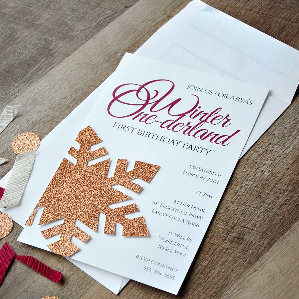 Snowflake Invitations in Rose Gold and Burgundy and Envelopes. We Print, Cut, Glue and Ship to You in 1-3 Business Days. Winter Onederland 1st Birthday Invitations.