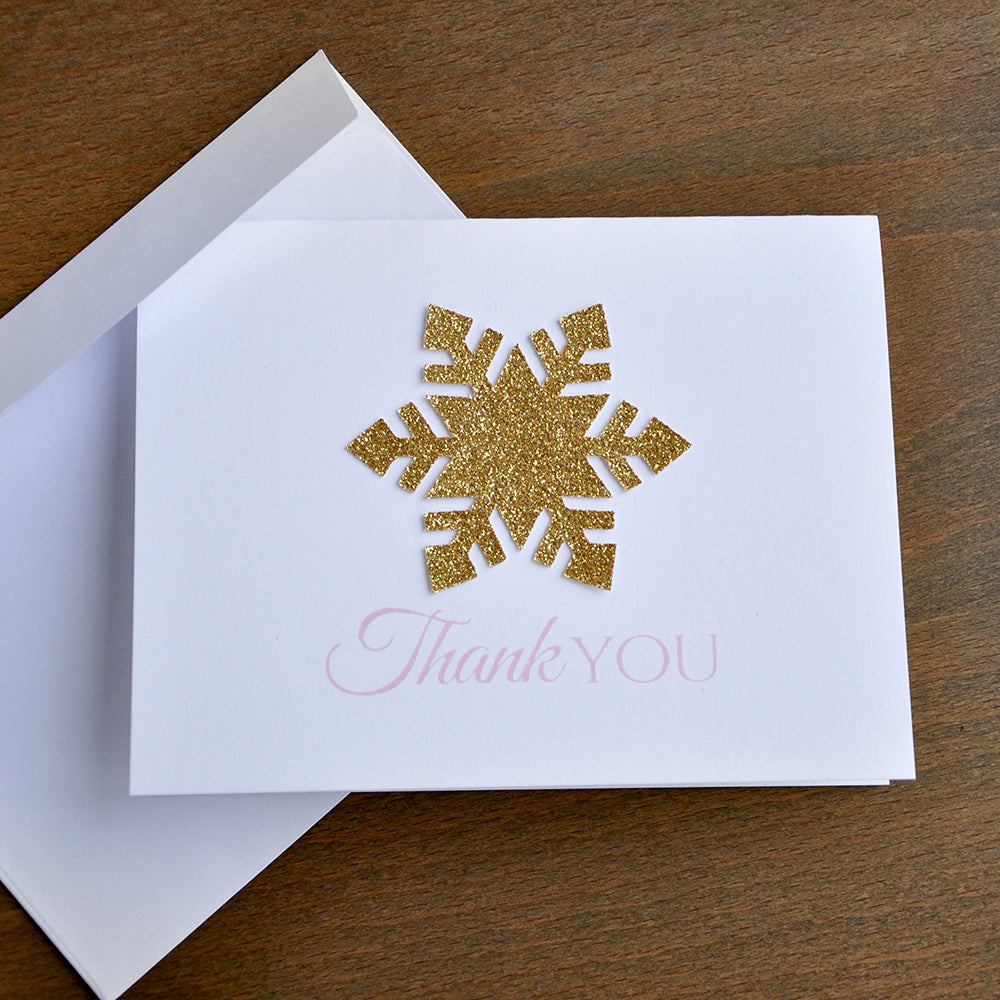 Winter Onederland Thank You Cards (Qty. 10). Pink and Gold Thank you Cards with Envelopes. Winter Thank You.