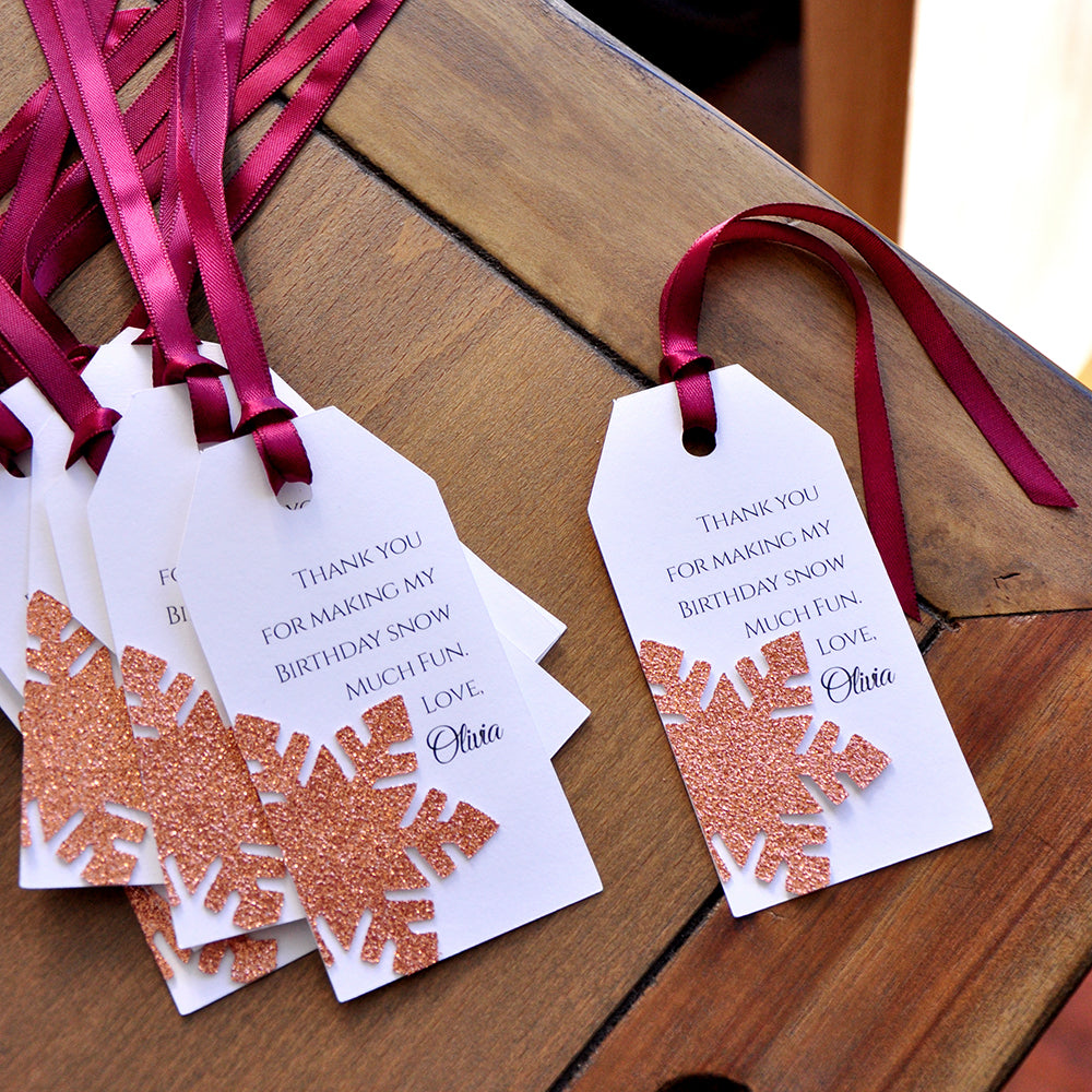 Snowflake Thank You Tags. Made in 1-3 Business Days. Winter Wonderland Party Supplies in Rose Gold. Personalized Thank You Tags. 10CT.