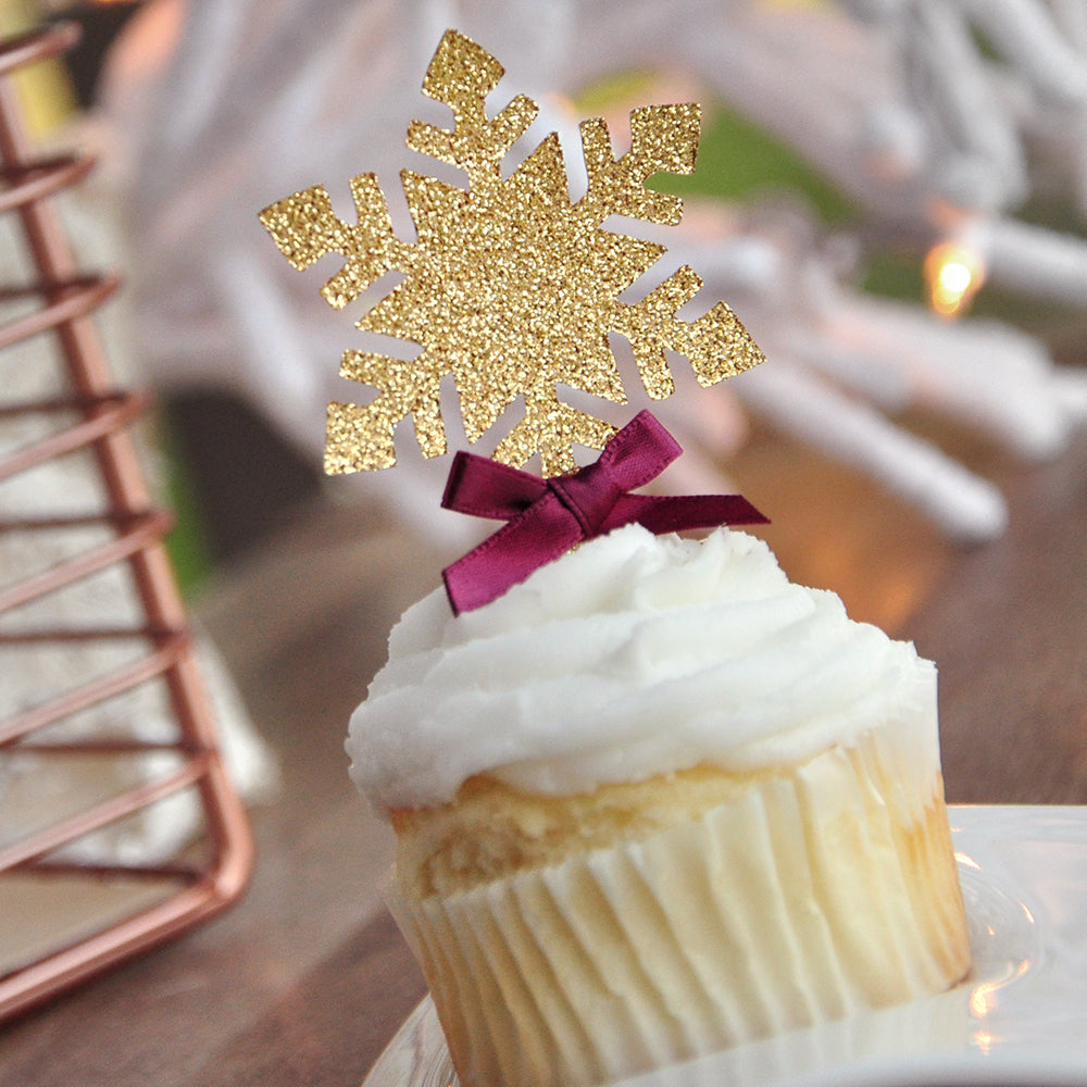 Winter Wonderland Cupcake Toppers 12CT. Made in 1-3 Business Days. Glitter Gold Snowflake Toppers With Burgundy Bows. Glitter Snowflake.