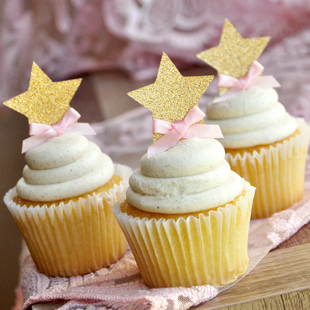 Pink and Gold Birthday Decorations.  Ships in 1-3 Business Days.  Glitter Gold Star Cupcake Toppers.  12CT.