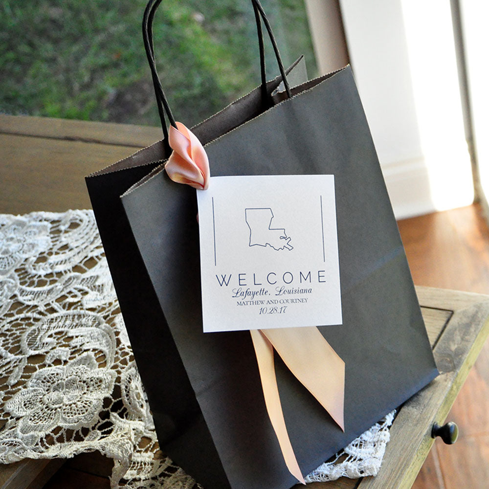 Gifts For Wedding Guests: State Gift Bags. Crafted In 1-3 Business Days. Welcome
