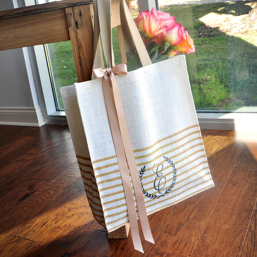 Wedding Tote Bag for Bridesmaid (Qty. 1).  Stripe Tote Bag. Initial Tote Bag. SJ14.