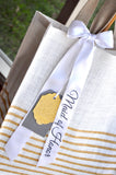 Maid of Honor Gift Idea. Striped Tote Bag (Qty. 1). Maid of Honor Gift. SJ14.