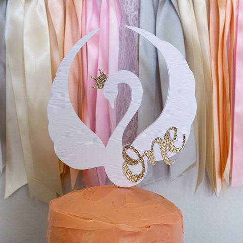 Swan Cake Topper for 1st Birthday. Swan First Birthday Ideas. Swan One Cake Topper.