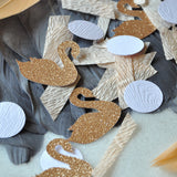 Swan Lake Party Confetti. Made in 1-3 Business Days. Swan Princess Birthday Party Decorations. Peach and Champagne Swan Confetti