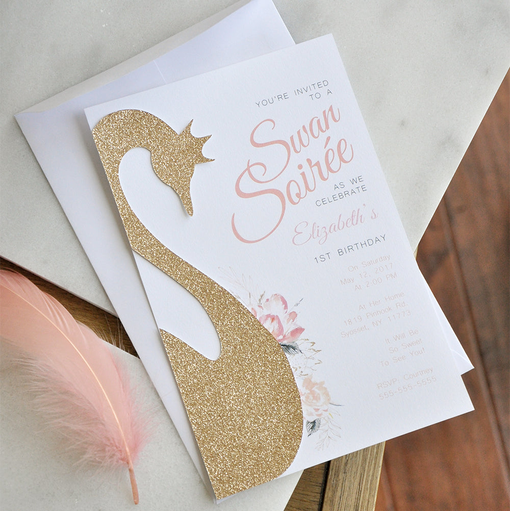 Swan Princess Invitations and Envelopes. We Print, Cut, Glue and Ship to You in 1-3 Business Days. Swan Birthday Invites.