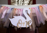 Swan Princess Party. Highchair Banner First Birthday. Ribbon Highchair Tutu.