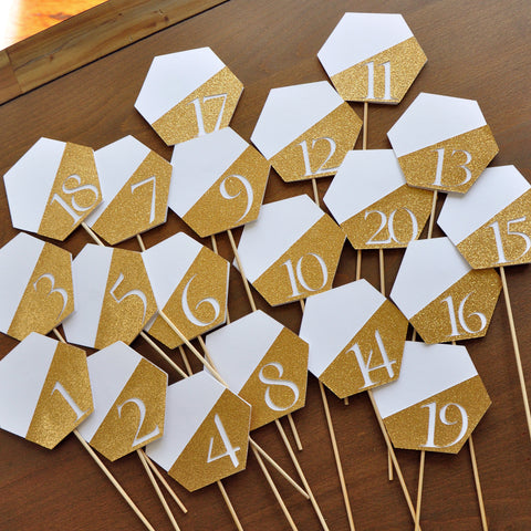 Table Number Sticks 1-20. Hexagon. Handcrafted in 1-3 business days. Table Number Picks.Table Numbers 1-20 Gold.