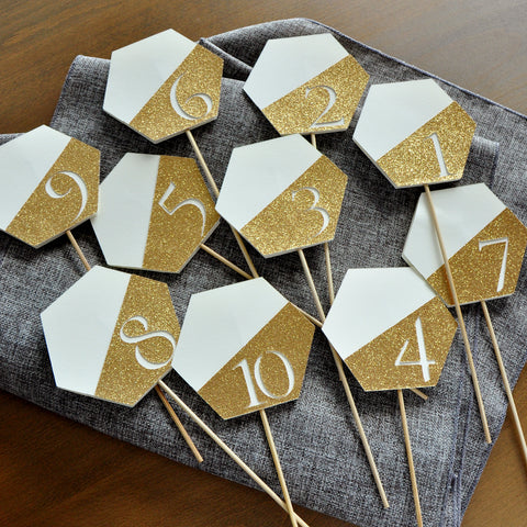 Table Number Sticks Gold. Handcrafted in 1-3 Days. Ivory and Gold Wedding Decorations.Table Number on Stick.