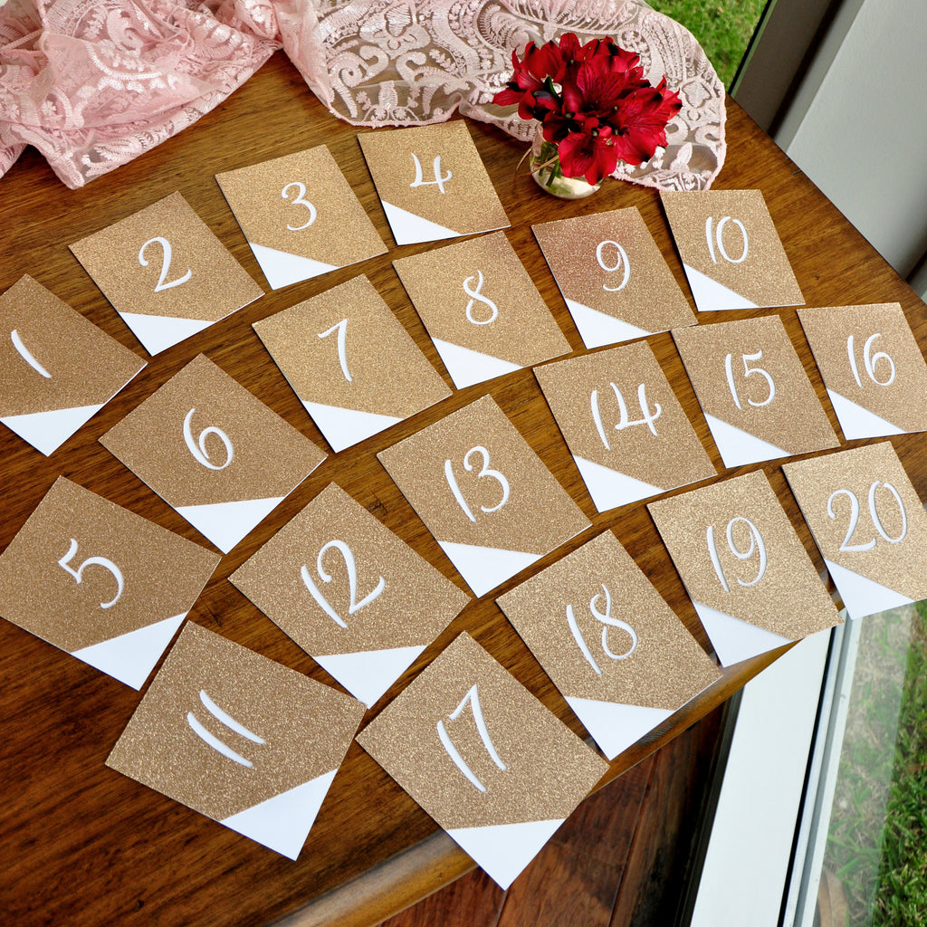 Table Numbers 1-20. Champagne Table Numbers. Handmade in 1-3 Business Days. Glitter Table Numbers for Wedding 1-20.