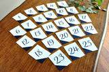 Table Numbers 1-25. Navy Table Numbers. Handmade in 1-3 Business Days.  Navy and White Wedding Decor.