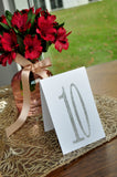 Table Numbers Silver. Tent Table Number Cards 1-10. Hand Crafted in 1-3 Business Days. Silver Wedding Decorations.
