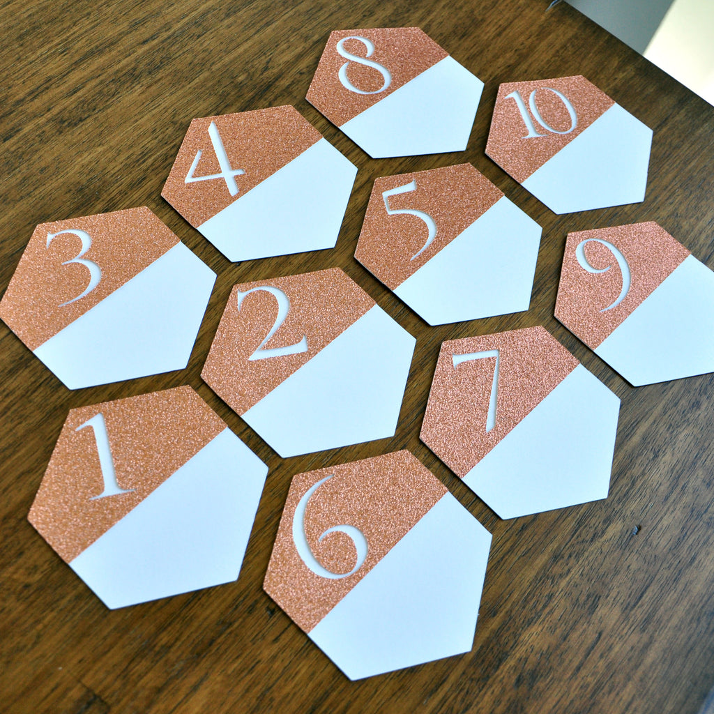 Table Numbers for Wedding. Geometric Wedding Decor. Handcrafted in 1-3 Business Days. Rose Gold Wedding Table Numbers. Wedding Number Cards. 10ct
