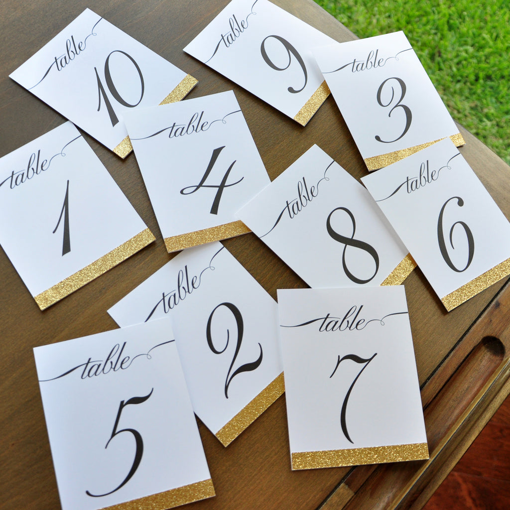Table Numbers for Wedding Gold. 1-10 or more. Cursive Table Number ...