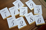 Table Numbers for Wedding Gold. 1-10 or more. Cursive Table Number. Handmade in 1-3 Business Days. Gold Table Numbers Cards.
