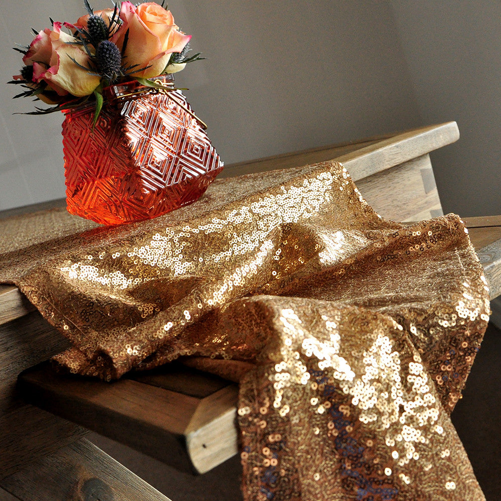 Table Runner for Wedding in Gold. Ships in 1-3 Business Days. Sequin Table Runner.