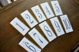 Tall Table Numbers. Gray Wedding Decor. Hand Crafted in 1-3 Business Days. Table Number Cards for Wedding.