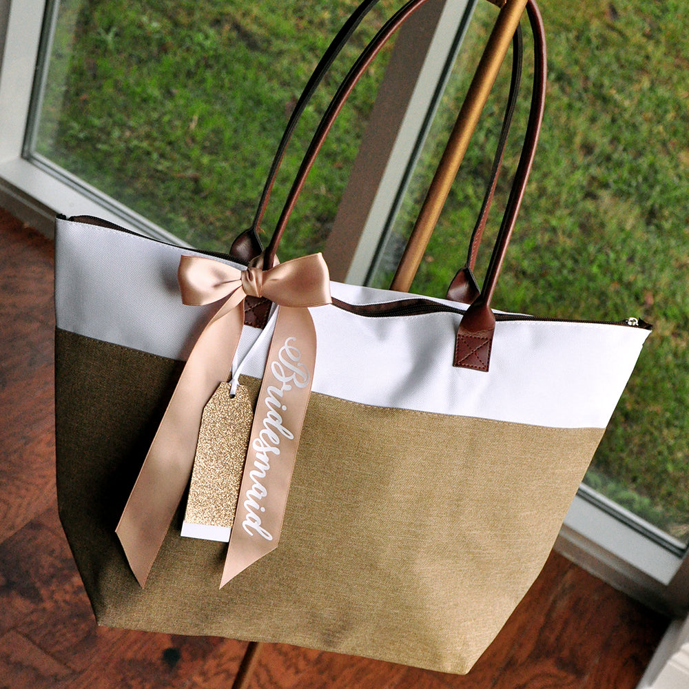 Pre-Order Only. Available Mid-March. Bridesmaid Bag (Qty.1).  Bridesmaid Tote Bag With Zipper. Bridesmaid Gift Ideas. CmlRT.