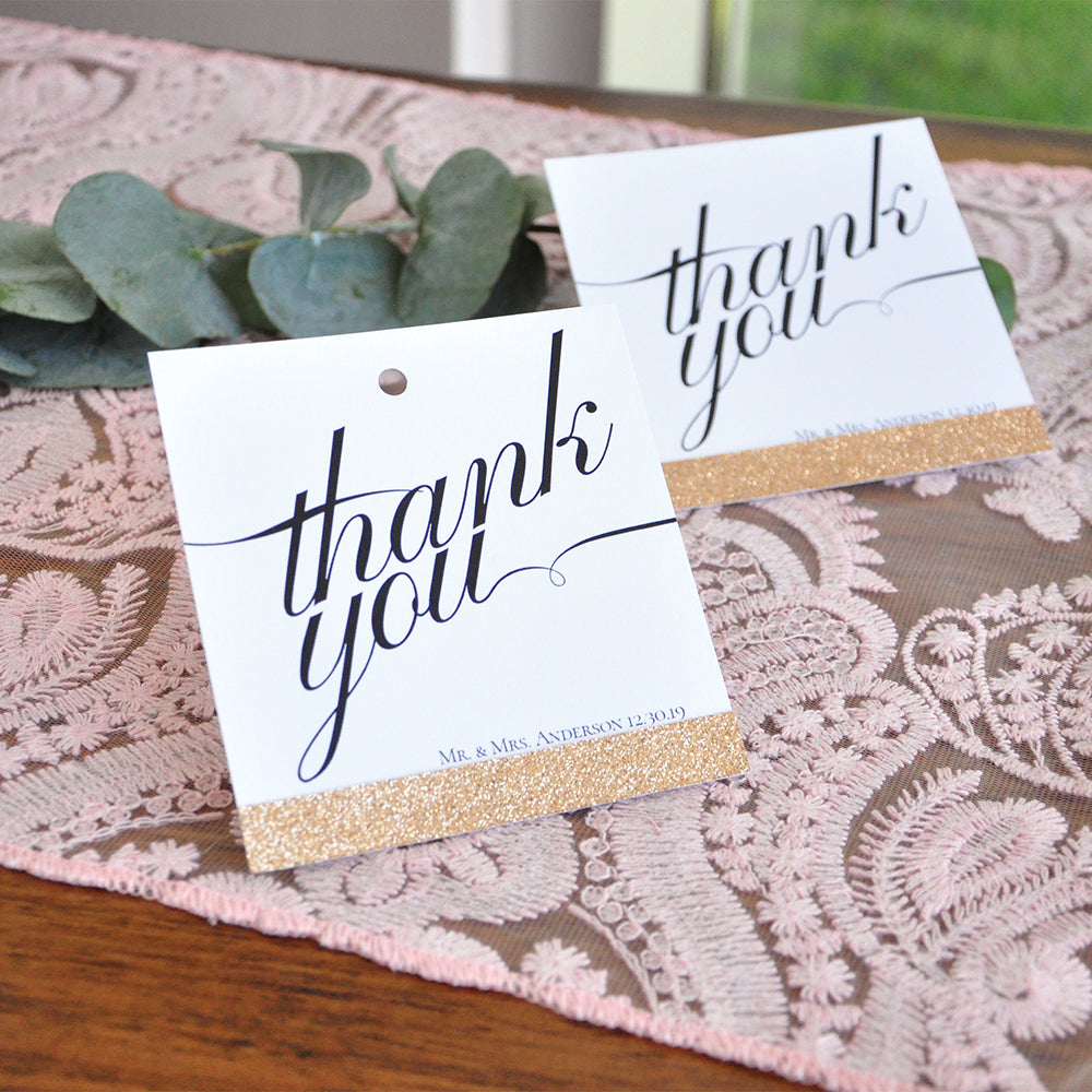 Wedding Gift Thank You Cards: Thank You Cards. Wedding Gift Bag Tags. Crafted In 1-3