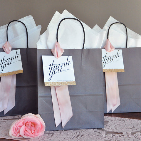 Thank You Bags. Wedding Gift Bag. (Qty 1). Crafted in 1-3 Business Days. Gift Bag for Wedding Guest. Personalize Bag. G8KFT.