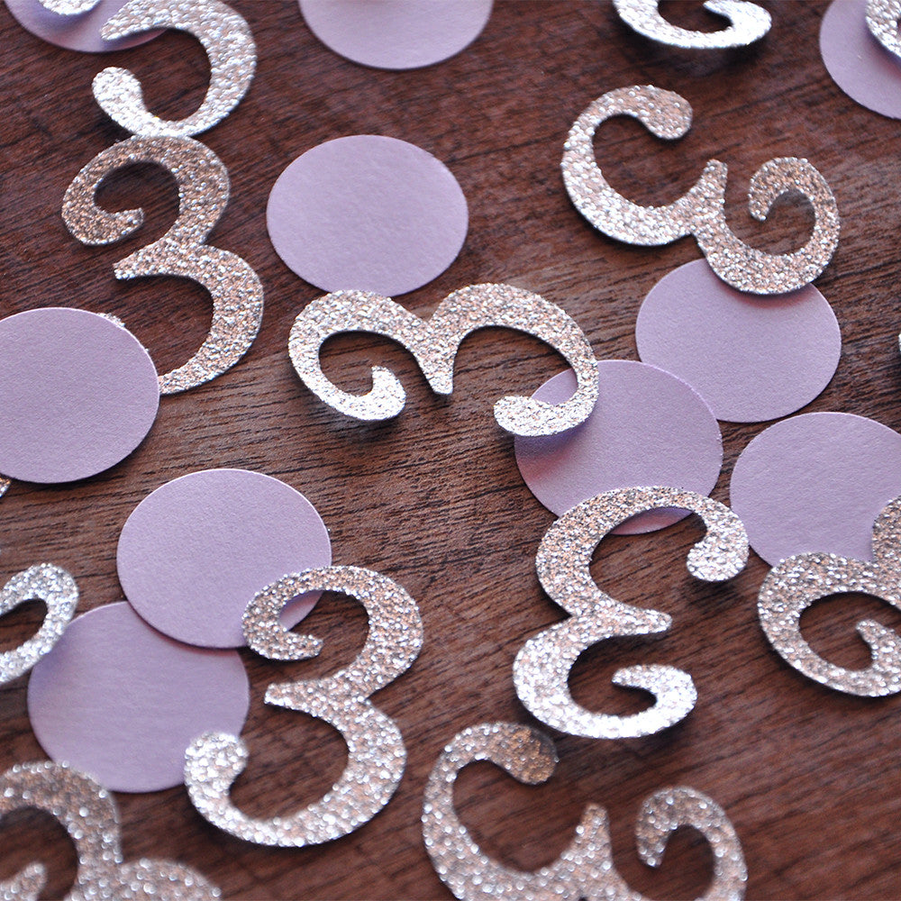 3rd Birthday Party Decorations. Ships in 1-3 Business Days. Lavender and Silver Mini Number Confetti 50CT.