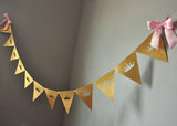 Pink and Gold Princess Bunting Banner. Ships in 1-3 Business Days. Tiara Garland.