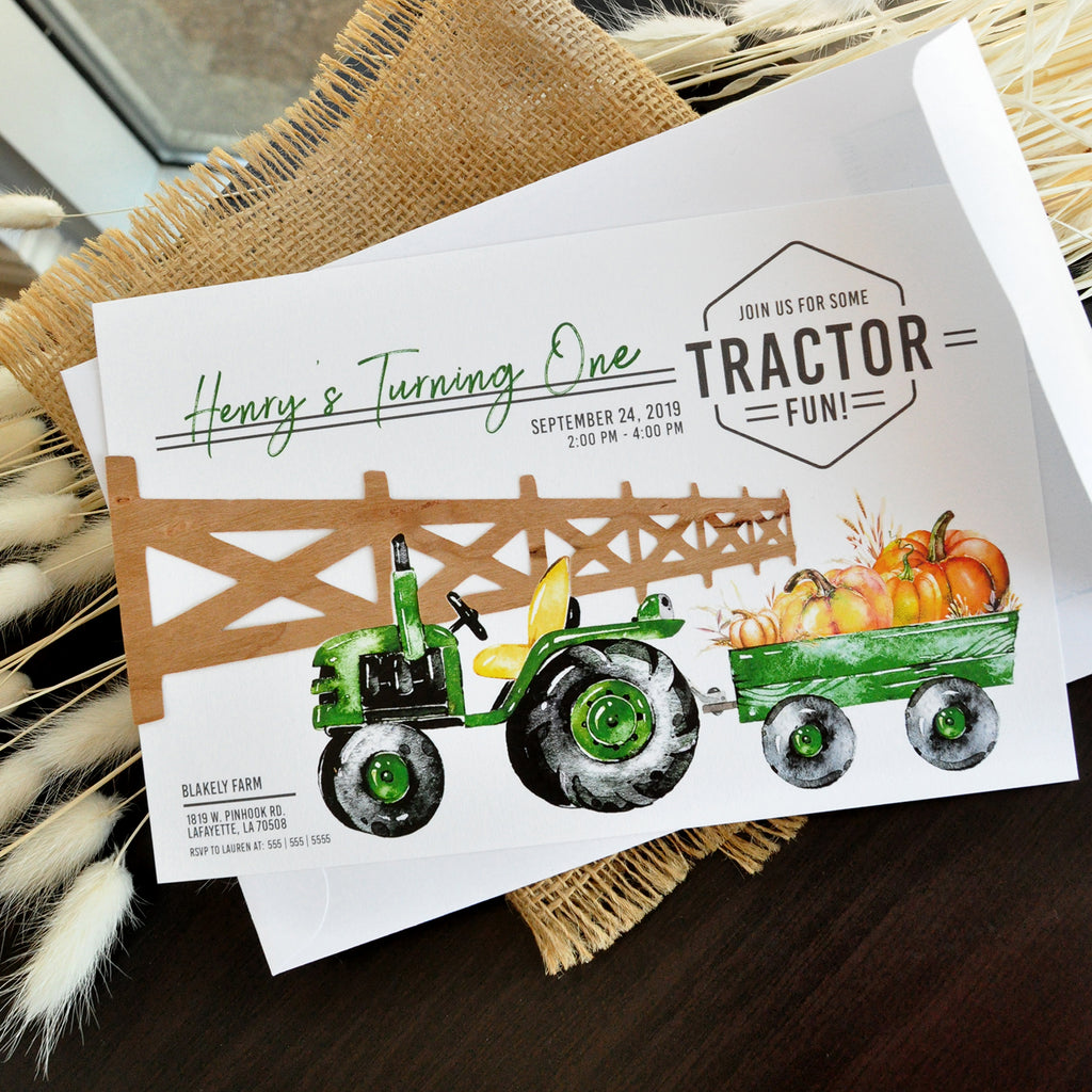 Tractor Birthday Invitation. Fall First Birthday. We Print, Cut, Glue and Ship to You in 1-3 Business Days. Our Little Pumpkin is Turning One Invitation.