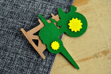 Tractor Cupcake Toppers. (1 Set of 12 Toppers with Real Cherry Wood) Made in 1-3 Days. Green and Yellow. Tractor Birthday Party Decorations.
