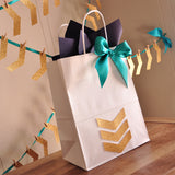 Tribal Baby Shower Gift Bag. Ships in 1-3 Business Days. Large White Paper Bags with Glitter Gold Chevron. Boho Gift Ideas.