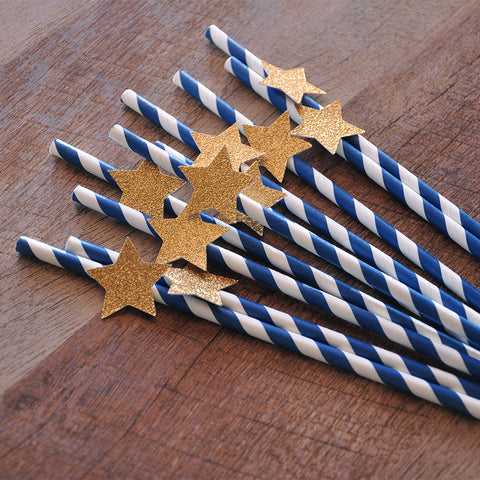 Navy & Gold Star Paper Party Straws 10CT. Ships in 1-3 Business Days . Twinkle Twinkle Little Star Party Decorations.