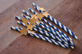 Twinkle Twinkle Little Star Party Decorations 10CT. Ships in 1-3 Business Days . Navy and Gold Paper Party Straws.