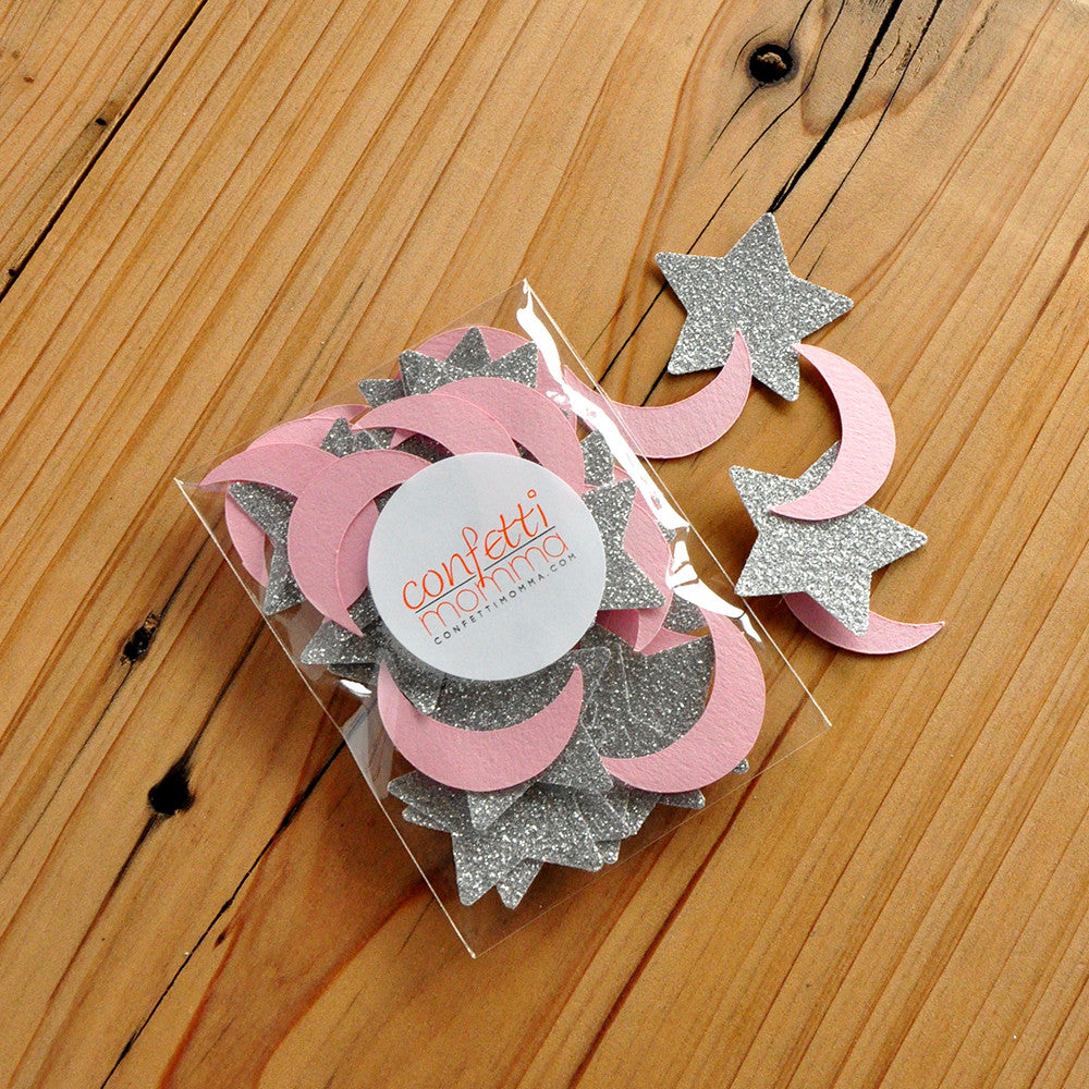 Twinkle Twinkle Little Star Party Decoration.  Pink and Silver Decor.  Moon and Stars Confetti 50CT Pack.