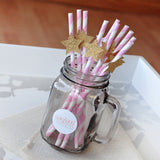 Pink & Gold Star Paper Party Straws.  Ships in 1-3 Business Days.  Twinkle Twinkle Little Star Party Decorations 10CT.