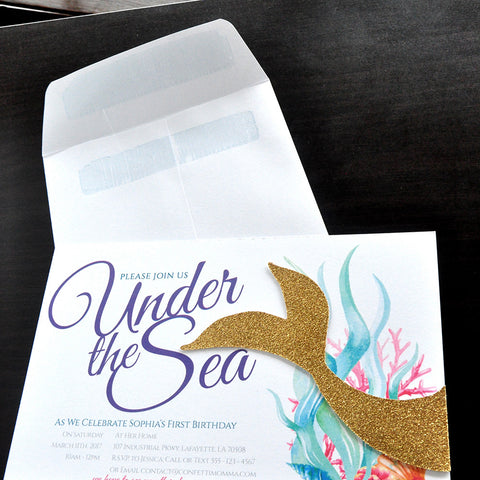 Under The Sea Invitations With Envelopes We Print Cut Glue And Ship To
