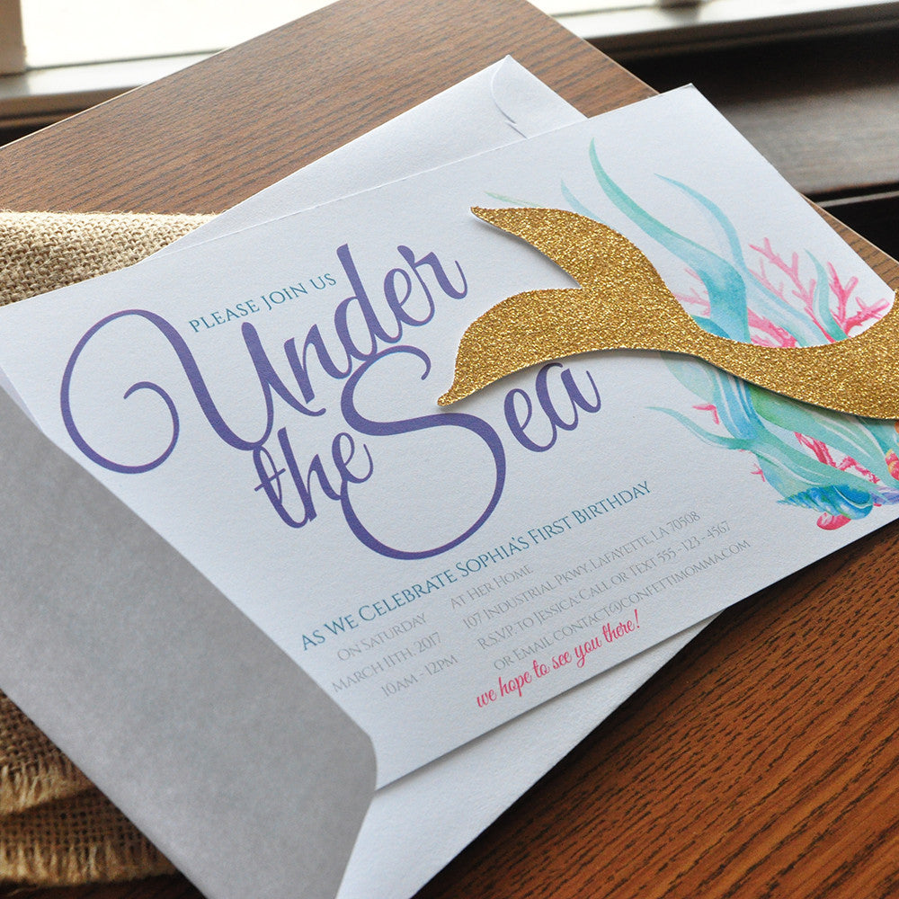 Under the Sea Invitations with Envelopes. We Print, Cut, Glue and Ship to You in 1-3 Business Days. Mermaid Tail Invitations.