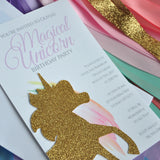 Unicorn Invitations. Unicorn Birthday Invitations. We Print, Cut, Glue and Ship to You in 1-3 Business Days. Unicorn Invites.