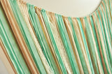 Wedding Backdrop. Ribbon Garland. Ribbon Banner in Mint and Ivory. Wedding Garland 6ft x 8ft.