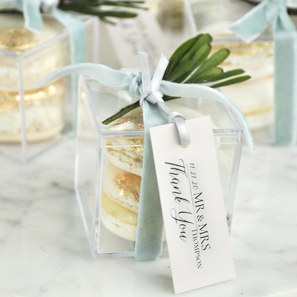 Pre-Order Only. Available Mid-December. Wedding Favors for Guests. (1 Set of 10). Personalized Wedding Favor Boxes with Tags. Acrylic Favor Boxes. S2AB