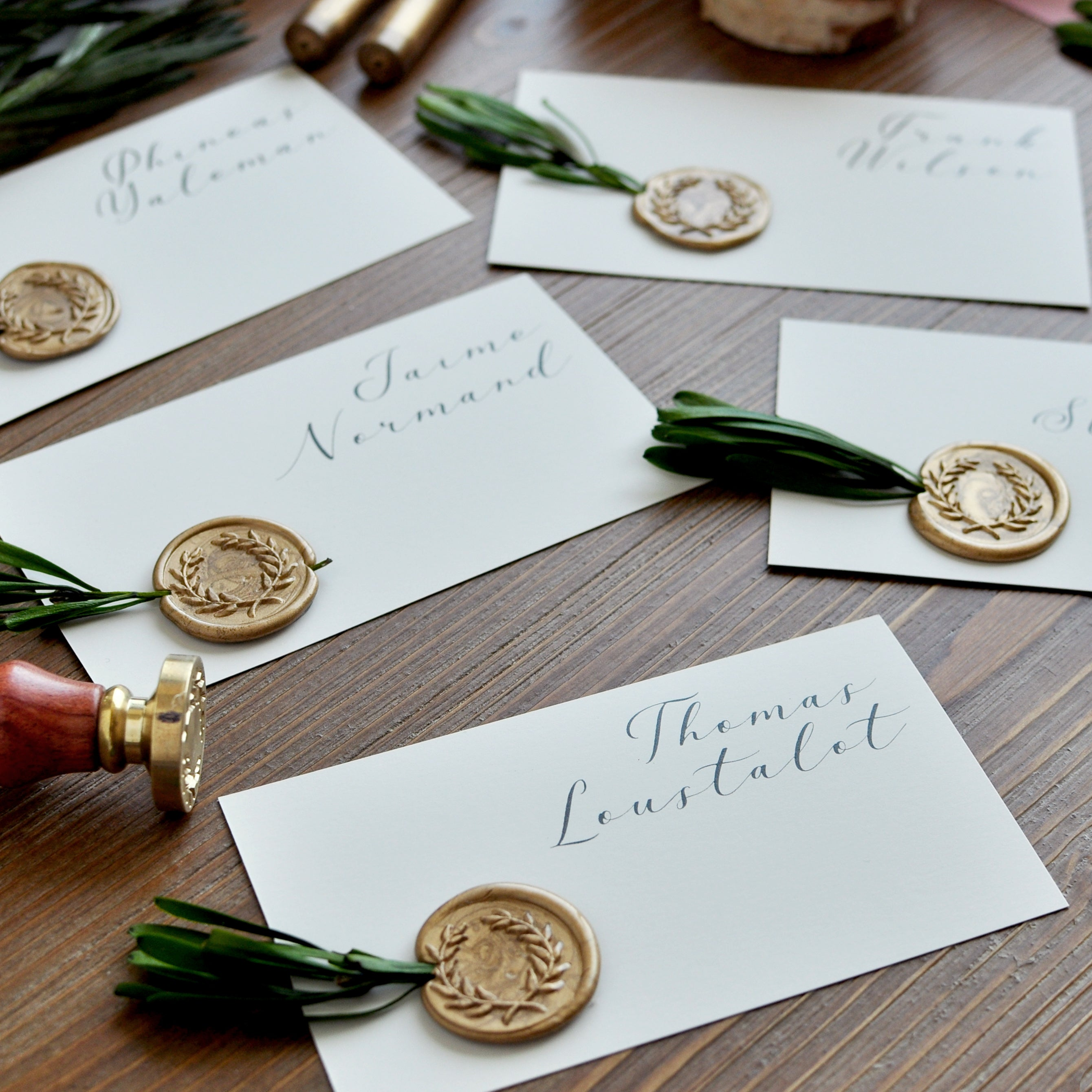 Wedding Place Card. (10 Set of 10) Place Cards Wedding with Greenery