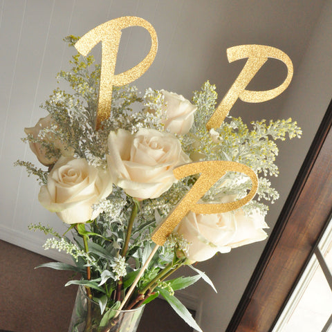Wedding Shower Centerpiece. Handcrafted in 1-3 Business Days. Gold Initial 3CT.