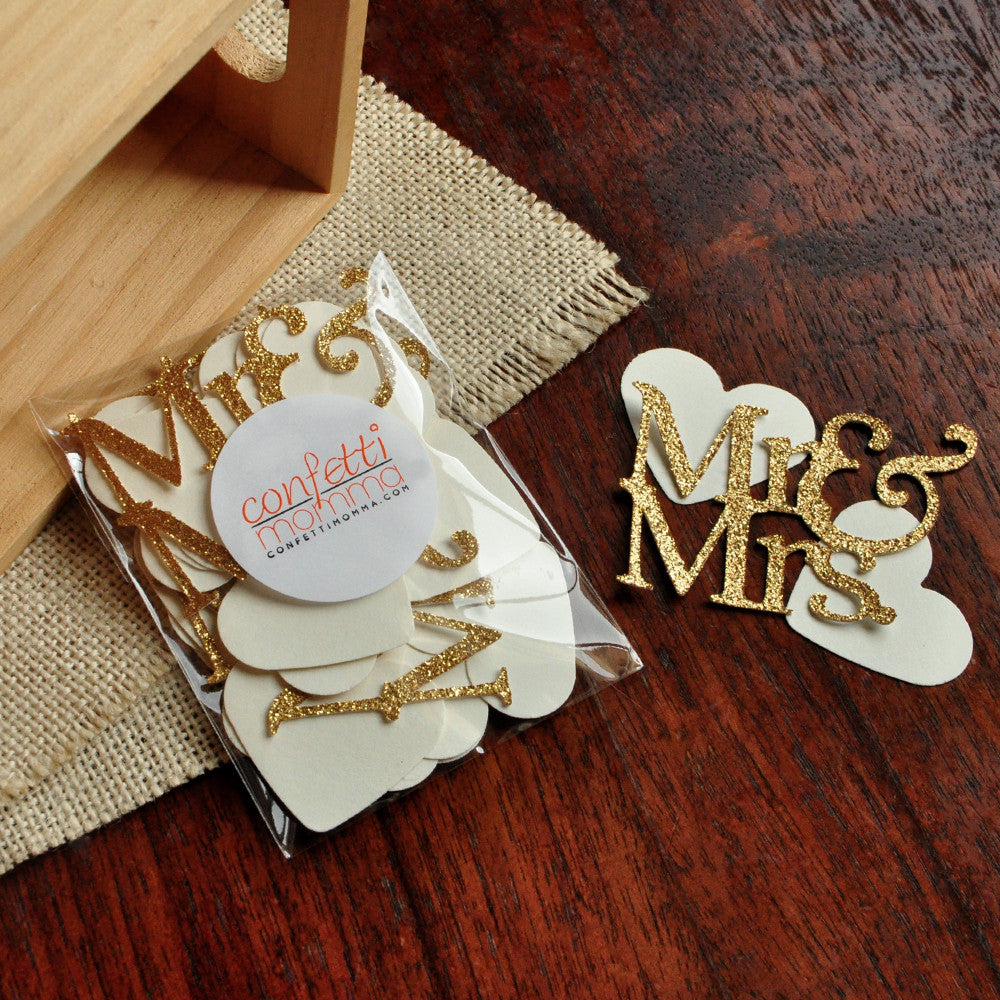 Wedding Table Confetti 45CT. Ships in 1-3 Business Days. Mr. & Mrs. Party Decorations. Engagement Party Decor.