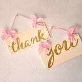 Wedding Thank You Sign.  Ships in 1-3 Business Days.  Pink and Gold Wedding Decor.
