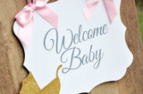 Welcome Baby Sign. Made 1-3 Business Days. Pink and Gold Hospital Door Hanger. Baby Shower Sign.