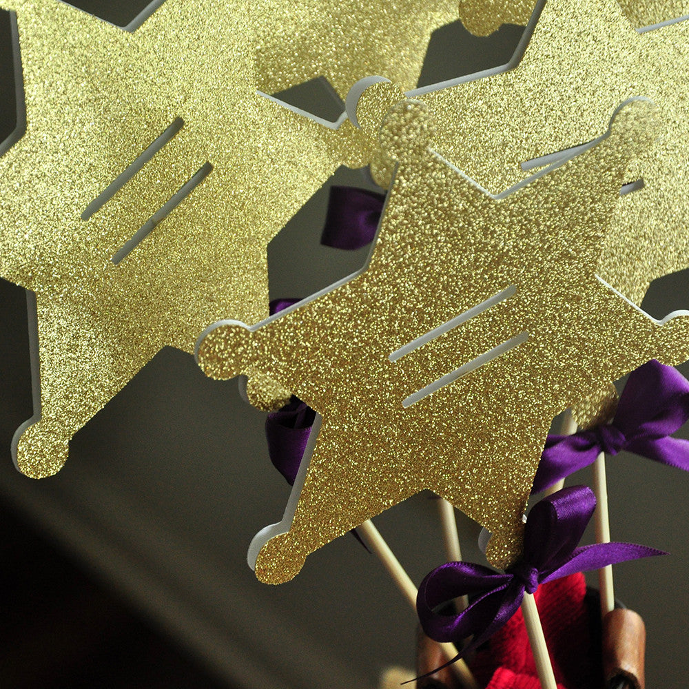 Western Cowgirl Birthday Party Decorations.  Ships in 1-3 Business Days.  Sheriff's Star Centerpiece 5CT.