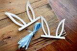 Blue and White Peter Rabbit Party Favor Hat. Blue and White Bunny Ear Headband. Bunny Party Favors.