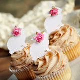 Floral Bunny Cupcake Toppers 12CT. White Woodgrain Bunny Picks with Baby Pink Flowers. Some Bunny is One.